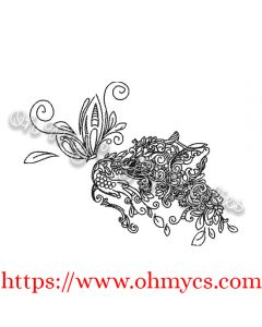 Leafy Cat Embroidery Design