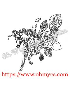 Leafy Horse Sketch Embroidery Design