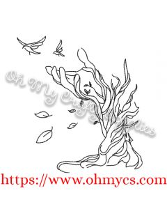 Leafy Tree Hand Embroidery Design