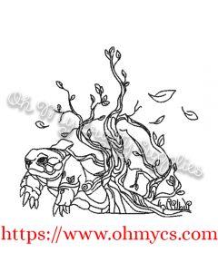 Leafy Turtle Embroidery Design