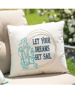 Let Your Dreams Set Sail Drawing Embroidery Design