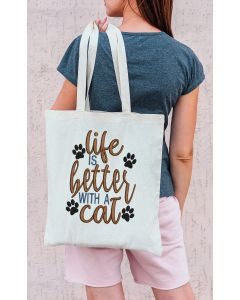 Life is better with a cat Embroidery Design