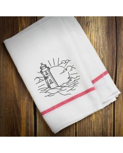 Lighthouse Drawing Embroidery Design