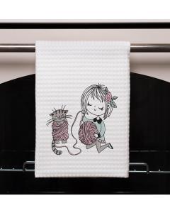 Little Miss Yarn Kitty Embroidery Design