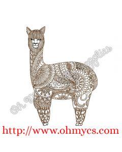 Henna Llama Embroidery Design