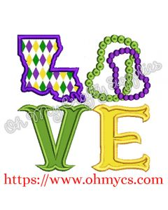 Mardi Gras Love Applique Design