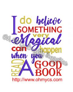 Magical Book Quote Embroidery Design
