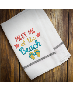 Meet Me at The Beach Embroidery Design