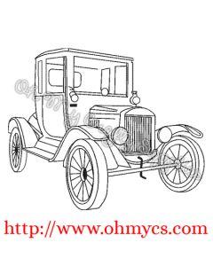 Vintage Model T Car  Sketch Embroidery Design