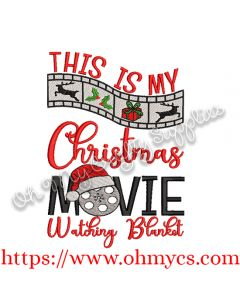 Movie Watching Blanket Embroidery Design