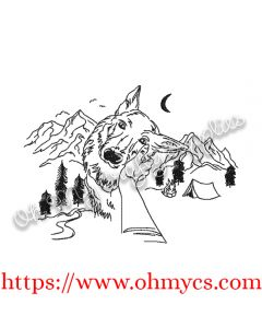 Mountain Dog Sketch Embroidery Design