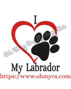 I Heart My Labrador Embroidery Design