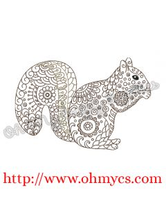 Henna Squirrel Embroidery Design
