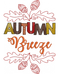 Autumn Breeze Words Embroidery Design