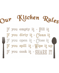 Our Kitchen Rules Embroidery Design
