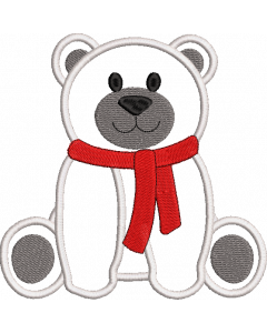 A baby polar bear teddy applique