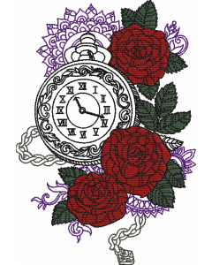 Steam Punk Rose Clock Embroidery Design