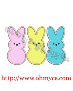 Easter Bunny Peeps Embroidery Applique