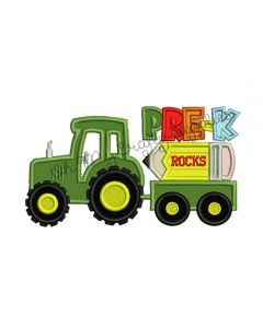 Pre-K Tractor Applique Embroidery Design