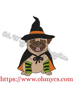 Pug Witch Embroidery Design
