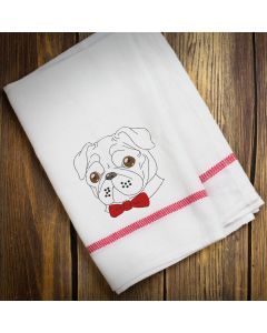 Pug with Bow Tie Embroidery Design