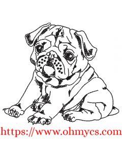 Pug Puppy Sketch Embroidery Design