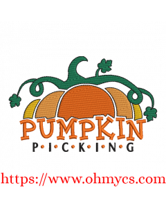 Pumpkin Picking Time Embroidery Design