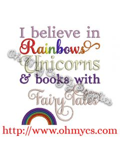 Unicorn and Rainbows Embroidery Design