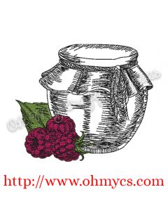 Raspberry Jam Jar Embroidery Design