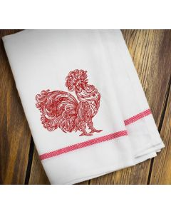 Red Henna Rooster Embroidery Design