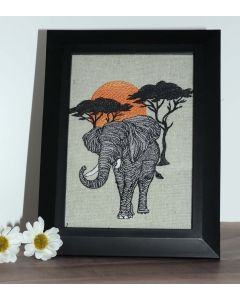 Safari Sunset Elephant Embroidery Design