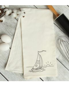 Sail Boat Drawing Embroidery Design