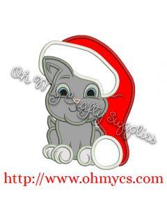 Santa Kitty Embroidery Applique