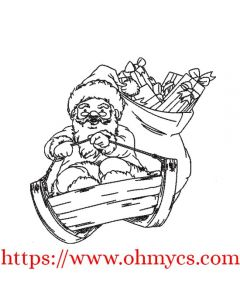 Santa Riding Sleigh Sketch Embroidery Design