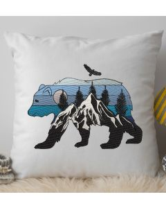 Scenic Bear Embroidery Design