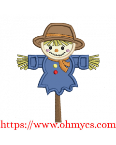 Scarecrow On A Stick Applique Design