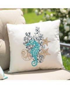 Colorful Seahorse Sketch Embroidery Design
