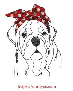 Sketch English Bulldog with Bow Embroidery Design