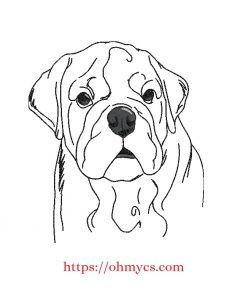 Sketch English Bulldog Embroidery Design