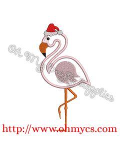 A Santa Flamingo Applique
