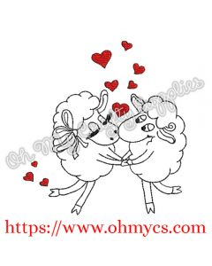 Sheep Couple Embroidery Design