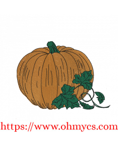 Simple Pumpkin Sketch Colored Embroidery Design