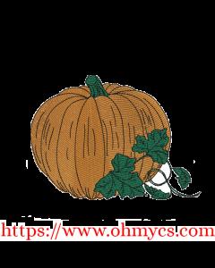 Simple Pumpkin Sketch Colored Embroidery Design