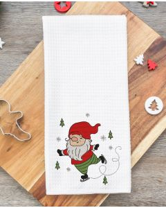 Ice Skating Gnome Embroidery Design