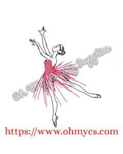 Sketch Ballerina Tutu Embroidery Design