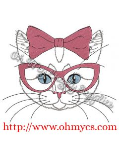 Sketch Cat with bow and glasses Embroidery Design