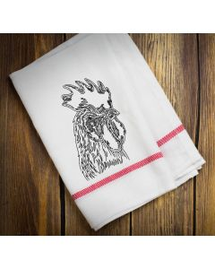 Sketch Etching Rooster Embroidery Design