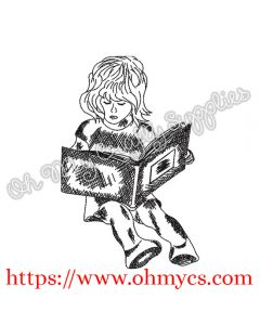 Sketch Girl Reading Book Embroidery Design