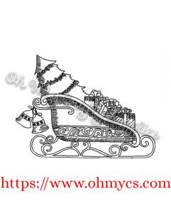 Sketch Holiday Sleigh Embroidery Design
