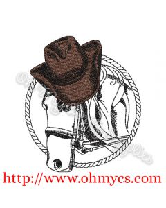 Sketch Horse with Cowboy Hat Embroidery Design